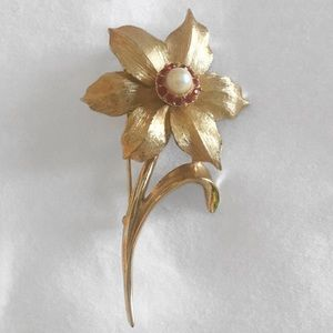 MARCEL BOUCHER VINTAGE NARCISSUS FLOWER PIN BROOCH